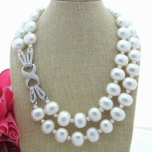 Hand knotted 2strands 7mm white freshwater pearl and 12*16mm shell pearl necklace sweater chain long 50-55cm fashion jewelry
