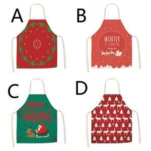 EU Stock Home Kitchen avental de algodão Linho Elk Papai Noel Stocking 8 Mulheres Padrão Desenhos animados Imprimir Partido Aventais Decoração de Natal Para