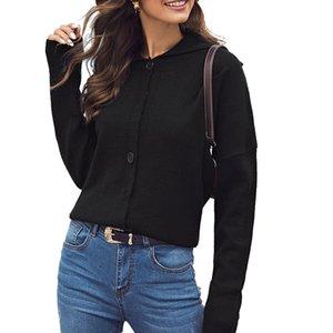 Женщины черный Элегантный отворотом свитер теплый с длинными рукавами Повседневный стиль вязаный свитер однобортный для женщин