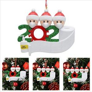 Árbol de Navidad Decoración de cuarentena Adornos superviviente de la familia de 2 3 4 5 6 7 Mascarillas mano Sanitized Customiz Christm Decoración juguetes creativos