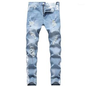 Designer Ripped Biker Jeans Pantalones 19SS Automne Slim Fit Jean Hommes Femmes Skateboard