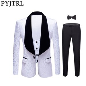 PYJTRL New 4 Pieces Set Wedding Groom Shawl Lapel Jacquard Tuxedo Pink Yellow Black Red Pure White Slim Fit Prom Dress Suits Men 200922