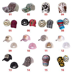 Ayçiçeği Criss Çapraz Ball Cap 16 Stiller Bufflao Ekose Mesh Hallow Out Beyzbol Cactus Yüksek Dağınık Buns Ponycaps Parti Şapkası CCA12540 Caps