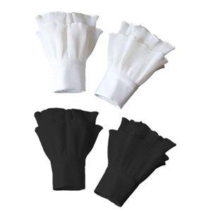 Пять пальцев перчатки японские женщины слоистые ребристые полосатые роговые манжеты агарические оборками морщинистые сплошные цветные съемные поддельные рукав запястье