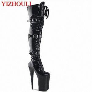 20 centimetri tacchi alti stivali alti, Buckle Boots capo rotondo ballerino sexy di modo Catwalk scarpe per Scarpe coscia Mens Boots Mens Boots Da, $ 68. 4LKk #