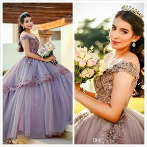 Lilac Lace Beaded Crystals Quinceanera Prom Dresses Sweetheart Ball Gown Tulle Evening Party Sweet 16 Dress