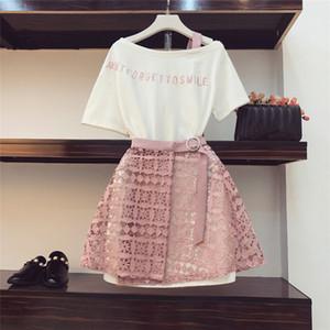 2020 Summer Women Fashion 2 Piece Suit Slash Collar Off Shoulder Long T Shirt & Hollow Out Lace Skirt Suits Skirts Set X0923