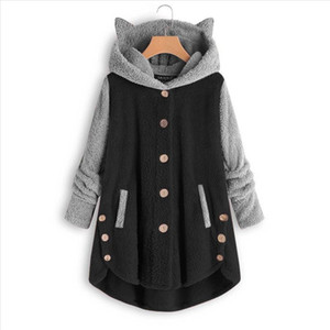 Women Button Coat Buttons Cat ear Tops Hooded Loose Blouse Plus Size female Plus Size Solid girl clothing fashion
