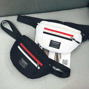 Fashion Women Men Waist Bag Female Fanny Pack Ladies Waterproof Black White Red Nylon Belt Bags Phone Money Chest Purse 529