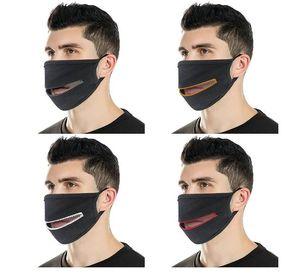 Tasarımcı maskesi Yaratıcı Fermuar Yüz Maskeleri Fermuar Tasarım Kolay Yıkanabilir Yeniden kullanılabilir Örtü Koruyucu Pamuk Maskeler İçki için
