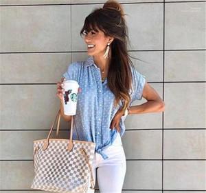 Polka Dot Designer Womens Shirts Lapel Neck Short Sleeve Casual Ladies Shirts Loose Female Clothing