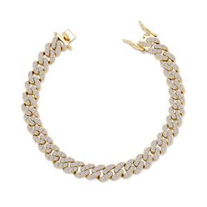 Women Bracelets Jewelry 8mm Width 18K Gold Rhodium Plated Cuban Chain Bracelets Luxury Bling Zircon Bracelets