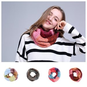 fashion 2020 Europe and America spliced Scarves thickened warm scarf wool loop neck fashion 5 color women's scarf Party Favor T2C5279