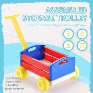Kid Building block trolley toy Assemble block trolley Kid Assemble storage trolley toy Kid birthday Gift