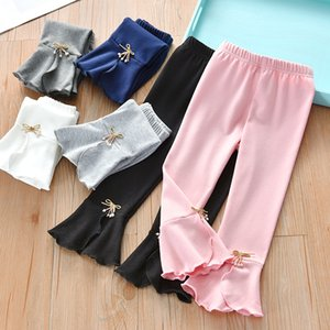 2020 Autumn New Girls Leggings Bowknot Children's Flared Pants Child solid color trousers casual Comfortable e080