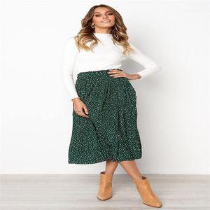 High Waist Side Pockets Skirts Summer Elegant Female Bottom White Dots Floral Printed Pleated Midi Skirt Women Elastic