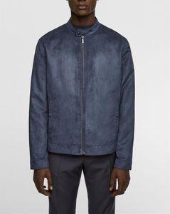 Mens giacca designer autunno Mens Moda Slim Stand Collar Jacket urbano del progettista del Mens Coat Faux Suede