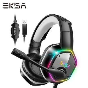 EKSA Wired Gaming Headset E1000 son surround 7.1 Casque PC Gamer avec Noise Canceling Mic RGB Lumière de jeu Casque Pour