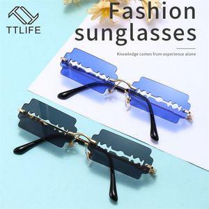 TTLIFE sem aro dos óculos de sol do vintage 2020 Women Sunglasses Men Frames pequeno Retro Marca Designer Óculos Eyewear UV400