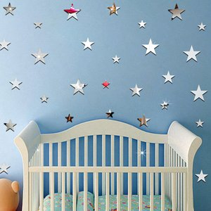 20pcs Mini 3D Star Mirror Wall Stickers Gold Silver Acrylic Stickers Kids Room Decorative Living Room Wall Art Acrylic Mural
