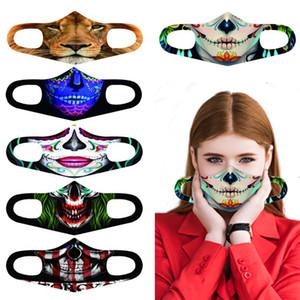 Классического Косплей 3D Printed Face Mask Взрослого моющийся 3D Рот Маска Ткань многоразовой Водонепроницаемая пылезащитных Anti смога маска Halloween