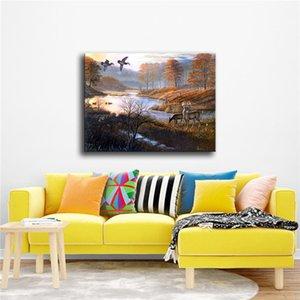 Fuwatacchi Пейзаж масло Красивых Понд искусства стена сообщения и распечатывает Canvas тиражей для гостиной Home Decor Pictures