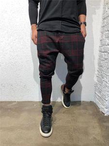 Vita allentata stilista pantaloni lunghi Mid coulisse Abbigliamento Uomo Plaid 3D Digital Print Mens Pants Sport