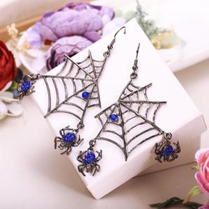 Tuliper Хэллоуин паук серьги для женщин Femme животных Кристалл Hook мотаться партии подарка ювелирных изделий Золото Синий