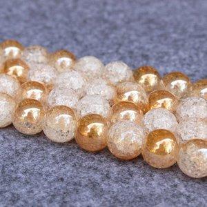 W796W Natural palomitas DIY cristal Crystal 6-12mm amarillo blanco Perlas de palomitas de maíz de la oblea hecho a sí mismo material de los granos DIY chapado en oro