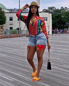 Shirts Women Luxury Blouse Striped Printed Womens Designer Shirts Fashoin Lapel Neck Long Sleeve Rainbow Printed