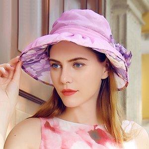 Ampla colorido Mulheres do vintage Brim Seda Verão chapéus de sol para as Mulheres Handmade Flower Sun Visor Caps Hat Sombreros Mujer Verano