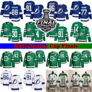 2020 final de la Stanley Dallas Stars 91 Seguin 14 Benn 4 Heiskanen 30 Obispo Tampa Bay Lightning 91 Stamkos 86 Kucherov 77 Hedman camisetas de hockey