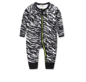 BABY 2020 Newborn Boy Girl Clothes Fashion Zipper Long Sleeve Zebra pattern Printed Jumpsuit Baby Romper Infant Clothes