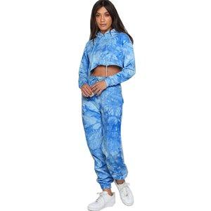 2020Women Sportswear Outfits Autumn Clothing Crop Top Pants Casual Wear Tie-dye Printing Clothing 2 Pcs Fashion Suit Women Track