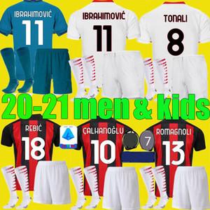 для взрослых мальчиков AC 2020 2021 миланы Ибрагимович трикотажных изделий футбола Набор 19 20 21 Piatek Paquetá ТЕО Ребич футбольных рубашки мужчины малыши комплекты униформы