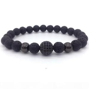 Volcano rock Bracelet 2017 new fashion titanium spherical zircon, agate beads and matte black