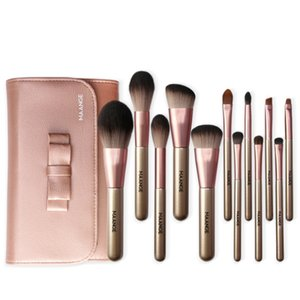 MAANGE 12PCS Make Up Brush Foundation Eyeshadow Concealer Makeup Brushes Tools With Pink Cosmetic Brush PU Bag Top Quality