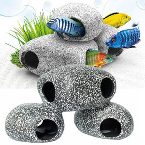 Aquarium Decoration Cichlid Stone Aquarium Fish Tank Pond Ornament Decor Shrimp Breeding Rock Cave Ceramic Stones Fish Hideaway Wholesale