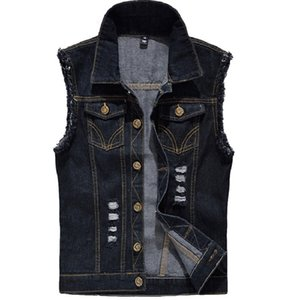 Denim Vest Mens Sleeveless Jackets Fashion Washed Jeans Waistcoat For Mens Tank Top Cowboy Male Ripped Jacket Plus Size 6XL T200910