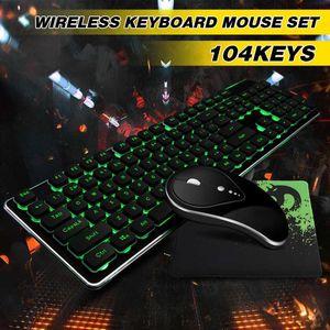 Gaming Keyboard 104Keys 2.4G sem fio recarregável Backlight e Silent mouse Luminous ergonômico para PC portátil à prova d'água