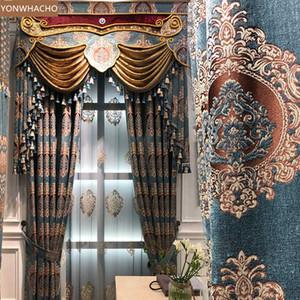 Custom curtain  high-grade thick American room chenille  Jacquard cloth blackout curtain tulle valance drapes B612