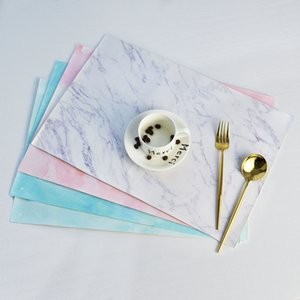 Creative PU Leather Placemat For Kitchen Table Marble Pattern Place Mats Insulation Waterproof Placemats Cup Mat Pad Home