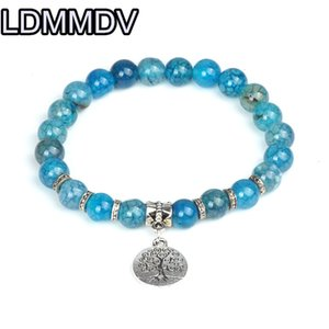 Dragon Vein Agates Bracelet Natural Crystals Round Stone Bead Bracelet 8mm For Muslim Prayer Tree of Life Blue
