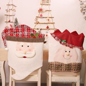 Christmas Chair Covers Mr Mrs.Santa Chair Slipcover Suit Snowman Snowflakes Chair Back Cover Dining Room Xmas Holiday Party Decor MY-inf0387