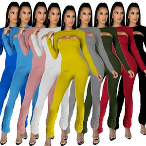 Womens jumpsuit 2 piece set sexy strapless romper + tops sexy rompers playsuit slim fashion panelled jumpsuit fashion women clothes klw5022