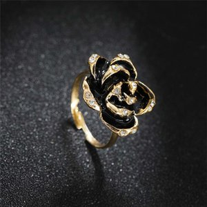 Black Rose Ring with CZ Micro Pave Christmas New Year Party Jewelry Vintage Flower Rings for Women 2020 New Design