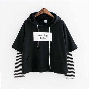 2020 New Autumn Women Sweatshirt Fashion Striped Sleeve Patchwork Casual Hoodies Cotton Spring Kpop Harajuku EXO Clothes