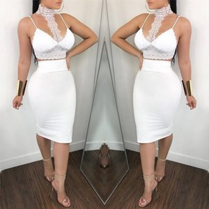 Women Clubwear Sexy Halter Lace Crop Top Tank Skirt Casual Party Bodycon Dress Pants Camisole 2pcs