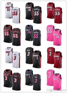 남성 여자 청소년마이애미열55 던컨로빈슨 3 드웨인웨이드 레드 블랙 화이트 블루 핑크 정의 농구 유니폼