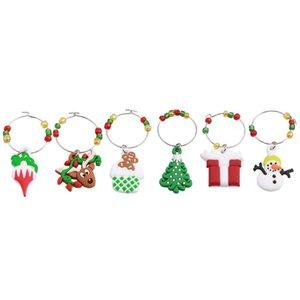 Dekorasyon Parti Kupası Table 6adet Charms Şarap Cam Dekorasyon Noel ağacı Kardan Adam Kolye Yüzük Dekor Yl894455 Dta3